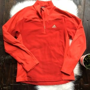 ADIDAS 1/4 Zip Fleece Pullover Red Men's MEDIUM